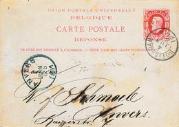 323/27 -Entier Postal Type TP 30  REPONSE ROTTERDAM 1881 Vers ANVERS - Entiers Postaux