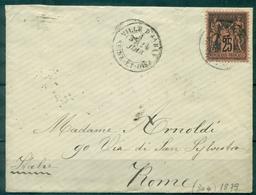 FRANCE  SAGE N° 91 Ob Ville D'avray 1879 Pour ROME - Marcophilie (Lettres)