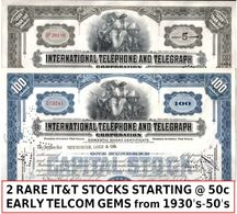 200 IT&T STOCKS (INTERNATIONAL TELEPHONE & TELEGRAPH) 100 BLUE/100 GREY 1940's-60's! LOWEST PRICE! (20c!!) - Monnaies & Billets