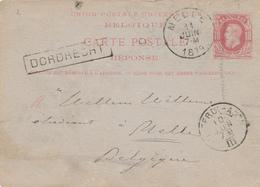 324/27 -Entier Postal Type TP 30  REPONSE - RARE Ambulant ROTTERD-ANTW. 1879 Vers MELLE - Griffe De Gare DORDRECHT - Postcards [1871-09]