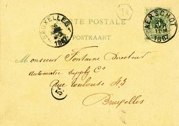 325/27 - Entier Postal Type Lion Couché AERSCHOT 1887 Vers BXL - Boite Urbaine Hexagonale HA - Entiers Postaux