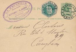 326/27 - Entier Postal Type Lion Couché + TP Télégraphe 25 C En EXPRES - Cachet Télégraphique BRUXELLES CENTRAL - Entiers Postaux