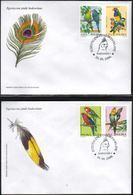POLAND FDC 2004 EXOTIC BIRDS CRIMSON ROSELLS COCKATEIL BUDGERIGAR BUDGIE SPOTTED-SIDE & GOULDIAN FINCH JAVE SPARROW - Sparrows