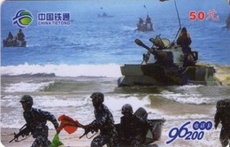 TARJETA TELEFONICA DE CHINA. TANQUE - WAR TANK DESEMBARCO (076) - Armada
