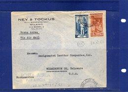 ##(DAN189) -1951-busta Via Aerea  Da Milano Per  Wilmington-Delaware-Stati Uniti Con Italia Al Lavoro L.100 + L.15 - 6. 1946-.. Repubblica