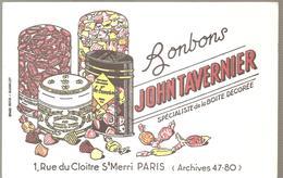 Buvard JOHN TAVERNIER Bonbons JOHN TAVERNIER Spécialiste De La Boite Décorée Rue Du Cloitre Paris - Cake & Candy