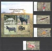 B919 D'HAITI MALAWI ENDANGERED ANIMALS BIRDS 1SET+1KB MNH - Briefmarken
