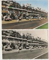 24 Heures Du Mans . 2 Cartes Couleur Et Noir Et Blanc Depart 1957 Panhard - Le Mans