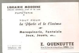 Buvard Librairie Moderne E. QUENEUTTE 20 Et 22 Rue De La République CREIL (Oise) - Stationeries (flat Articles)