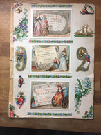 Page D'album XIXème, Nombreux Chromos & Découpis, Recto Verso, Voir Scans, Assignats Lith. Bognard - Cromo