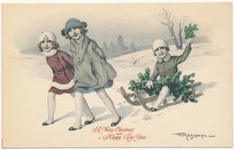 """A Merry Christmas And A Happy New Year - A / S - G. MESCHINI, BEAUTIFUL GIRLS, SLEIGH, GMT COLLECTION """"EROS"""", ART DECO - Künstlerkarten"""
