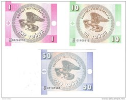 Kyrgyzstan - Pick 1,2,3 - 1, 10, 50 Tyiyn 1993 - Unc - Set 3 Banknotes - Kirghizistan