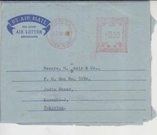 Hong Kong Aerogram To Pakistan, Meter Marking      (R-2114A) - Hong Kong (1997-...)