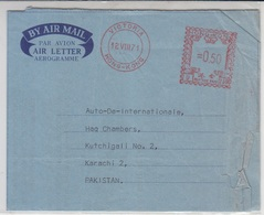 Hong Kong Aerogram To Pakistan, Meter Marking, 1971      (R-2116A) - Hong Kong (1997-...)
