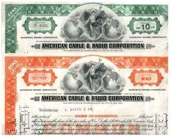200 AMERICAN CABLE & RADIO STOCKS (100 GREEN 100 ORANGE) 1940's-60's BEAUTIFUL ART DECO CERTIFICATES! LOWEST PRICE 25c!! - Lots & Kiloware - Banknotes