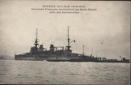 CPA Guerre Navale 1914 1915 Cuirassé Français Ravitallant Sous Marin Près Dardanelles Guerre D'Orient Marine 1916 - Warships