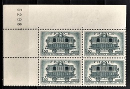 FRANCE 1944 - BLOC DE 4 TP Y.T. N° 609 COIN DE FEUILLE - NEUFS** - Unused Stamps