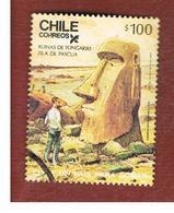 CILE (CHILE)  - SG 1057  -    1986   EASTER ISLAND: TONGARIKI RUINS     -     USED ° - Cile
