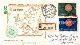 Fdc Serie Del Sole: EUROPA ( 1960); Raccomandata; AS_Mirano - F.D.C.