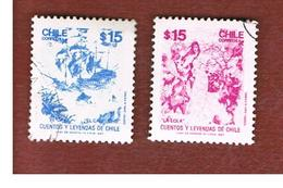 CILE (CHILE)  - SG 1093.1095 -    1987  FOLK TALES (2 STAMPS OF THE SET)   -     USED ° - Cile