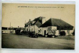 """49 LA MENITRE Carte Rare  Automobiles Restaurant """" A La Bonne Friture """" Bord Loire Garage Autos- CHretien Ang   /DS-2015 - Other Municipalities"""