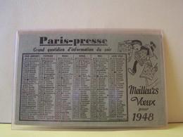 """CALENDRIER PETIT FORMAT 1948. PUBLICITE JOURNALISTIQUE.   100_6101""""b"""" - Calendars"""