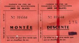 Chemin De Fer De Chamonix Au Montenvers (Mer De Glace). Montée/Descente. 1951. TBE - Chemins De Fer