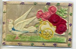 FANTAISIE Superbe Carte FORT RELIEF Colombe CELLULOID Attelage Peint Sur Fond Toile Cadre Relief  1910   /DS-2015 - Fantaisies