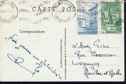 """MONACO - 1947 """"Souvenir Du Jubilé De S.A.S Le Prince De Monaco"""" CPA écrite Pour Longuyon - B/TB - - Briefe U. Dokumente"""
