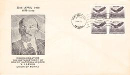 BURMA - COMMEMORATIVE COVER 100th BIRTHDAY OF LENIN 1970 - Myanmar (Burma 1948-...)