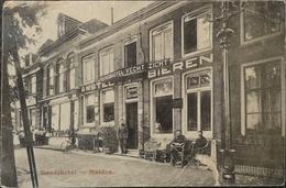 Muiden (NH) Bondshotel Vecht Zicht // Gelopen 1918 Kaart Dunne Plek Achterzijde - Nederland