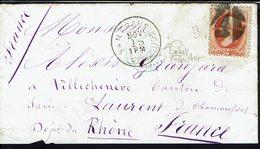 ETATS-UNIS - 1880 - Timbre N° 58 Sur Enveloppe De San Francisco Vers St Laurent-de-Chamousset (FR) - B/TB - - 1847-99 Emissions Générales