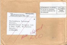 Zimbabwe 2013 Harare Box Closed Returned Cover Via France - Zimbabwe (1980-...)