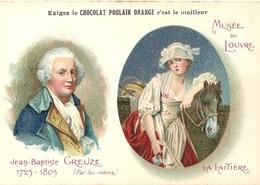 """Chromos Chocolat Poulain Orange Série Peintres Célèbres """"Musée Du Louvre Jean Baptiste Greuze La Laitière"""" N°12 - Poulain"""