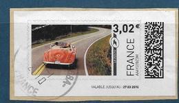 Vignette Illustrée France Oblitérée, Voiture Décapotable, 2010 - 2010-... Vignettes Illustrées