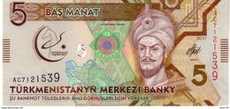 Turkmenistan P.new 5 Manat 2017  Unc - Turkmenistan