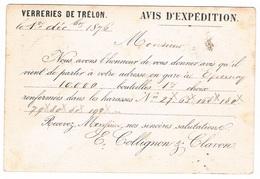 Carte Postale Précurseur Repiquage VERRERIES DE TRELON Oblitéré TRELON - Entiers Postaux