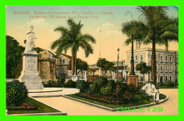 HABANA, CUBA - ESTATUA DE FERNANDO VII Y CASTILLO LA FUERZA - ANIMATED - TRAVEL IN 1916 - - Cuba