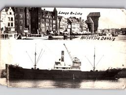 GDANSK DANZIG Photo Card Lange Brücke + Hafen Schiff CYRIL 1939 Deren Live Quality, See Scan - Polen