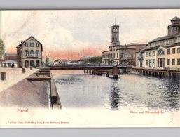 MEMEL Börse Und Börsenbrücke Zarte Farbelitho Um 1904 - Litauen