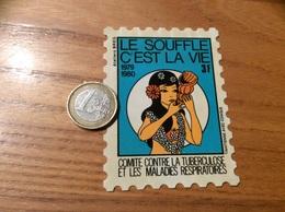 """Vignette Autocollant, Timbre """"le Souffle C'est La Vie 1979 1980 3F"""" TAHITIENNE AVEC CONQUE (musique) - Erinnofilia"""