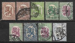 1925-1927 FINLAND Set Of 9 Used Stamps (Michel # 113XA,115XA,116XBI,120XB,121XB,132WB,134XA) CV €7.00 - Used Stamps