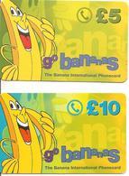 2-CARTES+PREPAYEE-GB-5£-10£-GO BANANAS-Plastic Epais- TBE- - Royaume-Uni