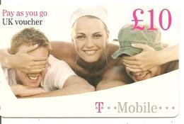 -CARTE+PREPAYEE-GB-10£-UK VOUCHER /T-MOBILE-Plastic Fin- TBE- - Royaume-Uni