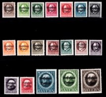 BAYERN, 1919, Mint Hinged Stamp(s) , Ludwig III, Overprint, M116=135,  Scan 15163,  19 Values, Not Cpl. - Bavaria