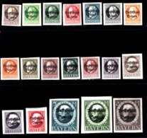 BAYERN, 1919, Mint Hinged Stamp(s) , Ludwig III, Overprint, M116=135,  Scan 15164,  19 Values, Not Cpl. - Bavaria