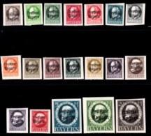 BAYERN, 1919, Unused Stamp(s) , Ludwig III, Overprint, M152-170,  Scan 15167,  19 Values, Cpl. - Bavaria