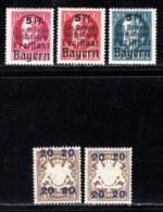 BAYERN, 1919, Unused Stamp(s) , Ludwig III, Overprint, M171-173+177,  Scan 15168,  5 Values, - Bavaria