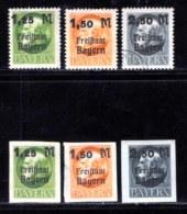 BAYERN, 1919, Unused Stamp(s) , Ludwig II,   M174-176,  Scan 15169, 6 Values, - Bavaria