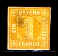 BAYERN, 1862, Unused Stamp(s) , Number Stamps   M8,  Scan 15172, 1 Kr,  NO GLUE - Bavaria